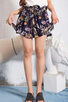 Anne Chen Purplish Blue Ruffles Pleated Floral Shorts | Shorts at DEZZAL