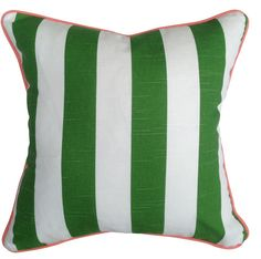Green & white cushion cover with salmon piping