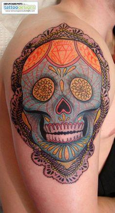 lacy sugar skull tattoo