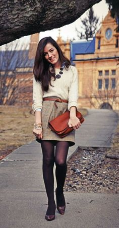 This outfit: geay shirt, black belt, black sweater, black hose, blwck flats or gray and silver pumps. Work Outfits to wear this Fall