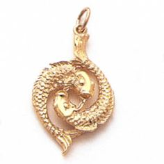 Pisces gold charm.  For in depth info on Pisces personality and characteristics go to http://www.buildingbeautifulsouls.com/zodiac-signs/western-zodiac/pisces-star-sign-personality-traits-characteristics/