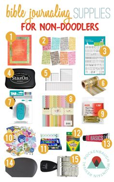 You want to try Bible journaling, but you just aren't into drawing? Here are 15 supplies to get you started Bible journaling even if you aren't a fan of doodling or drawing!