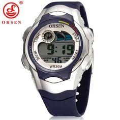 Sale 17% (6.89$) - OHSEN 0520 Digital LED Rubber Band Waterproof Kid Children Wrist Sport Watch