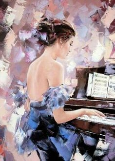 Music piano female painting