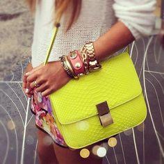 Yellow Celine bag.