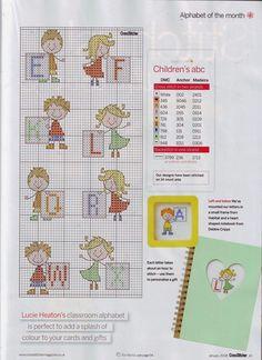 Alfabeto con niños, para punto de cruz.