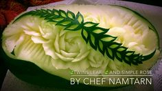 The Twins Leaf And Simple Rose in Watermelon Carving | By Chef NAMTARN