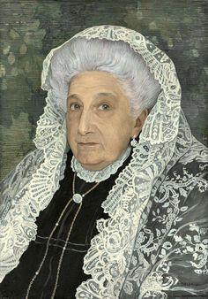 Ernest Biéler — Lady with White Lace Scarf, 1910 Silver White Hair, White Lace, Turbans, Watercolor Portraits, Watercolor Paintings, Art Nouveau, Ernest, Figurative Kunst, Victorian Life