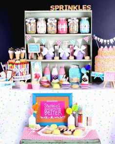Fabulous display at a sprinkles birthday party! See more party planning ideas at CatchMyParty.com!