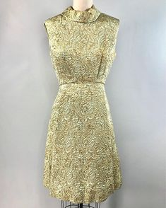 9246eec2f845 Ceil Chapman 60s dress 1960s brocade mod mint green gold cocktail 36 bust  Fashion Vintage,
