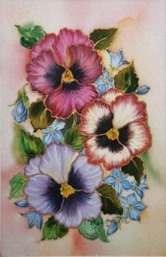 China Painting, Tole Painting, Fabric Painting, Vintage Cards, Vintage Postcards, Fleur Pansy, Watercolor Flowers, Watercolor Paintings, Embroidery Patterns
