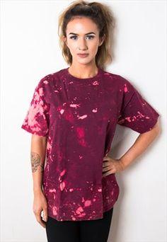 Maroon Bleach Effect Tie Dye T-Shirt