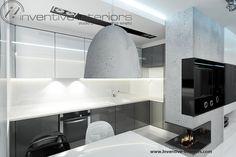 Projekt kuchni Inventive Interiors - biało-szara kuchnia w minimalistycznym męskim wnętrzu z betonem