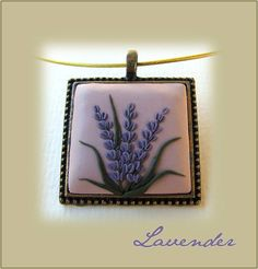 Lavender pendant, Polimer Clay, handmade jewelry, lavender flower motifs in Vintage style