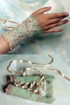 Lace and shabby chic ~ Victorian / Steampunk Hand Accessories, Fashion Accessories, Lace Cuffs, Lace Gloves, Bijoux Diy, Steampunk Fashion, Steampunk Vest, Beaded Embroidery, Beaded Lace