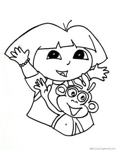 Dora the explorer coloring page and Dora the explorer activities. Collection of Dora and friends products for young kids. Explore the world and adventures of Dora the young girl character Dora Coloring, Fox Coloring Page, Blank Coloring Pages, Butterfly Coloring Page, Coloring Sheets For Kids, Mermaid Coloring, Cartoon Coloring Pages, Free Printable Coloring Pages, Coloring Books