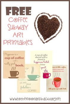 Four FREE coffee subway art printables to decorate your kitchen or other room! Great for coffee lovers who want to add some fun decor to their home.