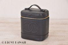 CHANEL Black Caviarskin Vanity CC Logo Cosmetic Bag