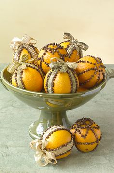 Pomanders   Fill your home with a tropical scent this holiday season:  http://www.rightathome.com/Designing/Crafts/Pages/FestivePomanders.aspx    They can decorate your mantel, hang from a tree, refresh a drawer, or add oomph to a decorative bowl filled with ornaments. They also make a pretty aromatic gift.