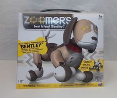 Zoomer Bentley Tan Brown Robotic Dog Toy Electronic Interactive Robot #Spinmaster