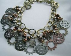 Steampunk necklace, made with old gears.  By Michelle B. Johnson.