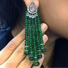Emerald beads and diamond earrings spotted by @jewelsfanatic during JewelleryArabia2016 in Bahrain