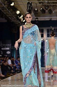 Models walks with Designer Manish Malhotra gorgeous Saress at Delhi Couture Week