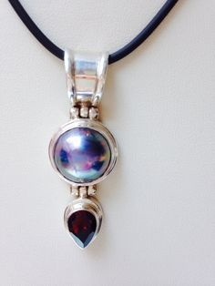 Blue South Sea Pearl with drop Shaped Garnet Pendant by balijewels, $39.00