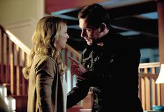 """Spoiler Photos From Revenge Season Episode """"Confidence"""": Aiden Mathias and Emily Thorne Get Cozy! (PHOTOS) - Gallery - Emily and Aiden Have an Intense Conversation in Revenge Season Episode """"Confidence"""" - Revenge Revenge Tv Show, Emily Revenge, Barry Sloane, Revenge Season 2, Emily Thorne, Men Tv, Emily Vancamp, Tv Guide"""