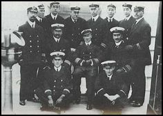 The Carpathia's  CAPTAIN ROSTRON SEATED MIDDLE with his officers