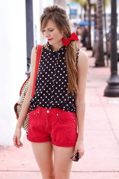 red and navy outfit
