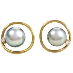 Black Pearl Diamond Yellow Gold Earrings