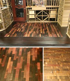 These are more pics of the aged winebarrel wood flooring, used in various ways. In these piics they have alternated using the outside of the barrel and the insides, which have been stained over time by the fermenting of the wine in them. Which makes the patina on each board inconsistently BEAUTIFUL..I AM SO IN LOVE WITH THIS LOOK!!!