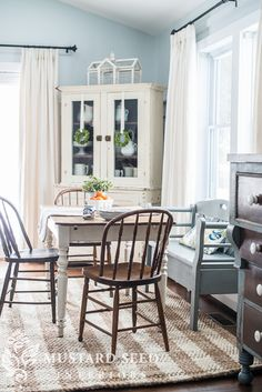 checkered jute rug, farmhouse style table and chairs, milk painted bench in MMSMP Bergere
