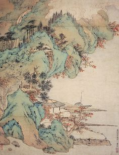 Dong Yuan( 930- 960) is especially known for his landscape paintings. He exemplified the elegant style which would become the standard for brush painting in China for the next nine centuries. He and his pupil Juran (巨然) were the founders of the southern school (南派) of landscape painting.