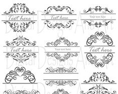 BLACK Digital Clipart Frames wedding clip art by MSweetboutique
