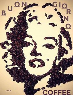 Marilyn Monroe wall art made from coffee beans Coffee Brewer, Coffee Cafe, Coffee Drinks, Coffee Bean Art, Coffee Beans, I Love Coffee, My Coffee, Cofee Shop, Café Chocolate