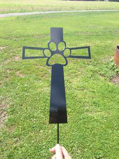 Pet Memorial Cross Garden Stake Dog by SCHROCKMETALFX on Etsy, $30.00