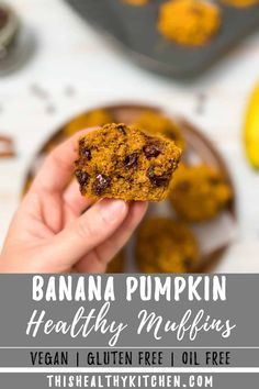 Healthy banana pumpkin muffins are moist and incredibly drool-worthy, yet made using wholesome ingredients like ripe bananas, pumpkin puree, flax seeds and oatmeal. Lightly sweetened with an  optional chocolate chip fill in so you can make these more or less sweet, to your taste. Easy to make, with just one bowl needed. Plus, these muffins are allergen friendly, using gluten free oat flour, they're also dairy free, egg free, vegan, and nut free.