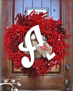February Initial Wreath love this much better with the red! Valentine Day Wreaths, Valentines Day Decorations, Valentine Crafts, Holiday Crafts, Holiday Fun, Christmas Wreaths, Holiday Decor, Holiday Ideas, Valentine Ideas