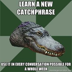 Aspie Alligator - learn a new catchphrase use it in every conversation possible for a whole week