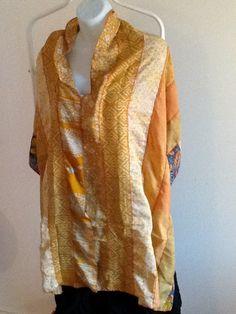 Silk Sari Scarf - Orange Tones by SocksAndAccessories on Etsy