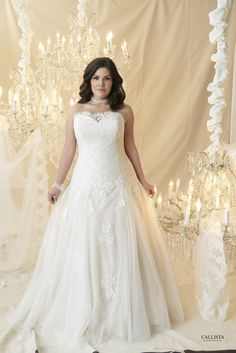 Drop waisted ball gown with no train and lace appliqué over the corset bodice. Lace trailing onto the skirt.
