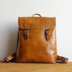 Vintage top grain leather backpack women, minimalist leather bag, handmade leather backpack
