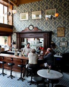 Inside the old-timey San Francisco bar, Comstock Saloon – … - Handcrafted Bar Pub, Café Bar, Pub Interior, Bar Interior Design, Pub Design, Cafe Restaurant, Restaurant Design, Modern Restaurant, Western Saloon