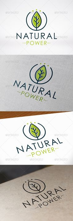 - Three color version: color, greyscale and single color.- The logo is 100 resizable.- You can change text and colors very easy u Logo Design Template, Logo Templates, Plant Logos, Power Logo, Organic Logo, Green Logo, Natural, Cool Logo, Logo Restaurant