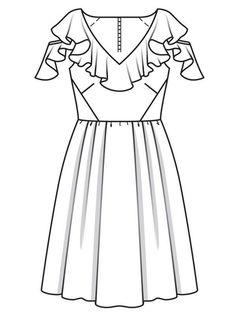 Платье с воланами вдоль горловины