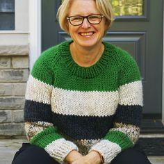 """Christine on Instagram: """"This is my third #winstonpullover by @janerichmond 🤓I modified it by making it cropped and striped. Read all about my mods over on my blog.…"""" Crochet Projects, Knit Crochet, Third, Men Sweater, Style Inspiration, Pullover, Knitting, Fitness, Blog"""