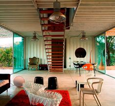 Bottom floor of a modern two storey home constructed out of shipping containers