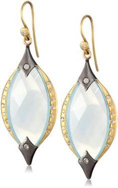 Lauren Harper Collection Archipeligo Blue 18k Gold, Black Silver, Chalcedony and Diamond Marquis